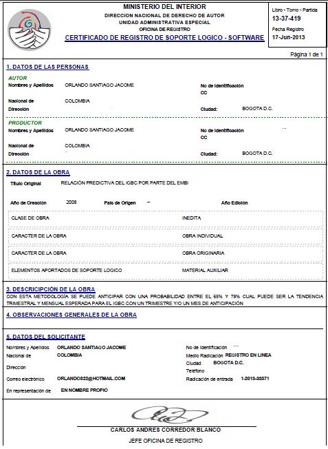 DERECHOS DE AUTOR - RELACION PREDICTIVA DEL IGBC POR PARTE DEL EMBI - EDITADO
