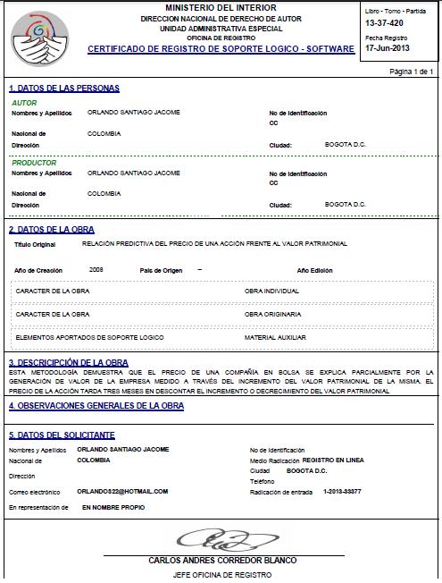 DERECHOS DE AUTOR  - RELACION PREDICTIVA DEL PRECIO DE UNA ACCION FRENTE A SU VALOR PATRIMONIAL - EDITADO